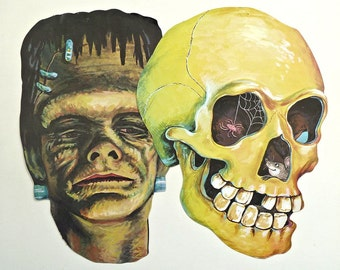 Vintage Halloween Faces on Cardstock Frankenstein's Monster & Skull with Mouse, Spider Web