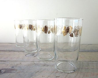 Vintage Cocktail Glasses Tumblers with Gold Grape Leaf Pattern Set of Four Barware