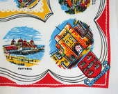 English souvenir tablecloth. Novelty tablecloth, Dorset, Southampton, Hampshire, Corfe Castle, Poole. Primary colors, cotton blend, small