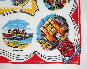 English souvenir tablecloth. Novelty tablecloth, Dorset, Southampton, Hampshire, Corfe Castle, Poole. Primary colors, cotton blend, small