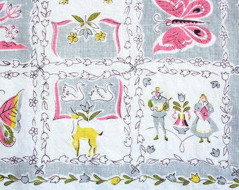 Mid century tablecloth. Folk art inspired, linen table cloth, Scandinavian, folk dancers, deer, floral, gray, pink, yellow, olive green