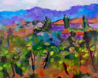 PRINT - Many Sizes - of Italian Tuscan Vineyard from Original Impressionist Oil Painting by Rebecca Croft