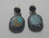 Turquoise Druzy Earrings Turquoise Earring - Swarovski Stone Earring -  Pyrite Stone Earring -Sterling Silver  Earring