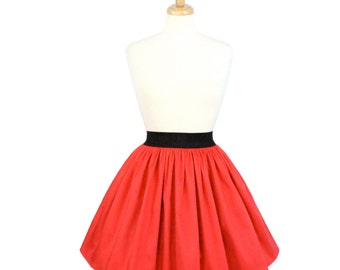 Solid Coral Red A-line Pleated Skirt