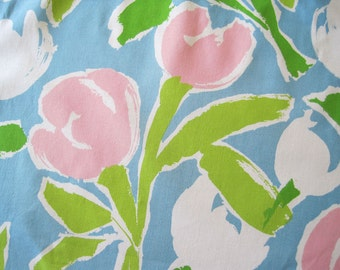 Vintage Decorator Cotton Floral Fabric Yardage J. J. Fancy Free Mod Tulips Blue Pink White Green Large Scale – 3 Yards