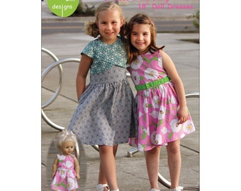 "LILY Sewing Pattern ~ Girls Dresses and Matching 18"" Doll Dresses  ~ Olive Ann Designs ~  Sizes 2-10 ~ OAD95"