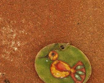 vibrant little enamel bird pendant