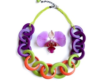 Colorful Statement Necklace, Multicolor Summer Necklace, Chain Rings Necklace, Chunky Chain Link