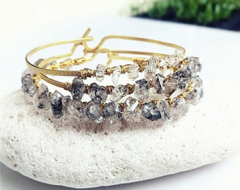 Herkimer Diamond Bracelet, Gold Beaded Bangle Bracelet, Crystal Wrap Bracelet, Gemstone Bracelet