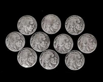 10 Buffalo Nickel Concho Buttons - HIGH GRADE Indian Head - loop back