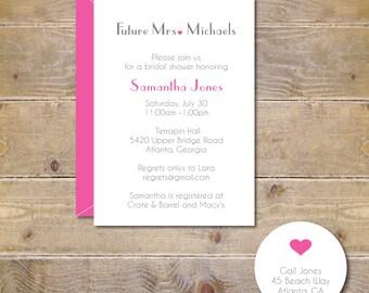 Future Mrs, Bridal Shower Invitations, Bridal Shower, Invitations, Soon To Be Mrs, Hearts, Wedding, Affordable Weddings