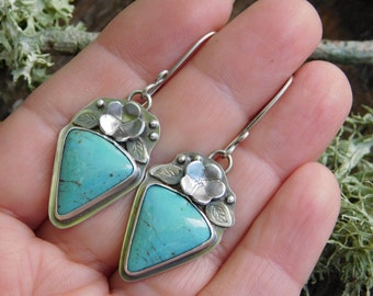 Turquoise and Silver Blossom Earrings
