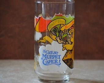 Great Muppet Caper Glass/McDonalds Collectible Glass/Vintage Kermit, Fozzie Bear and Gonzo Iced Tea Glass/Water Tumbler/1981