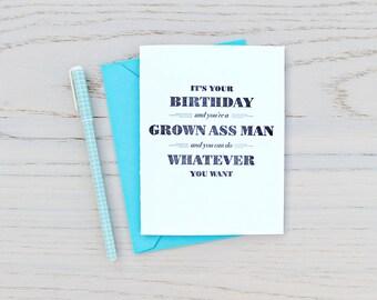 grown ass man birthday letterpress card