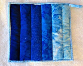 Potholder -- Ombre in Shades of Blue Ranging from Navy Through Aqua, Hotpad, Mug Rug, Snack Mat