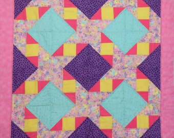 Baby Girl Quilt, Wall Hanging in Pink, Purple, Aqua and Yellow