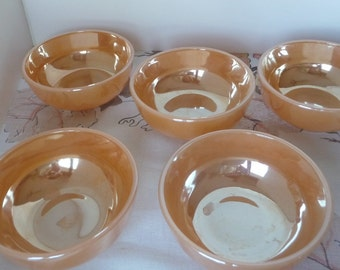 Lusterware Cereal Bowls Peach Set of 5
