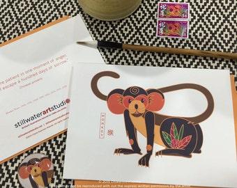 Monkey Chinese New Year Card - Chinese New Year Zodiac Animal