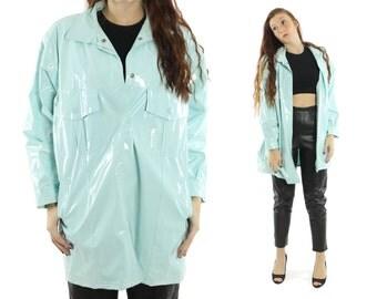 Vintage 80s Vinyl Raincoat Waterproof Rain Coat Aqua PVC Jacket 1980s Trench Coat Large L XL
