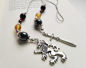 Game of Thrones HOUSE LANNISTER Gift Bookmark Beaded Book Thong Rear View Mirror Fantasy Lion and Sword Charms Gift Reading