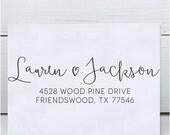 Custom Address Stamp, Self Inking Address Stamp, Return Address Stamp, Calligraphy Address Stamp - Lauren