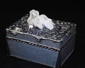 Decorated with Clear Quartz cluster Wooden box decorative silver solder work alter box crystal treasure box shrine treasure