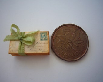 Set of 3 French Envelopes Tied with Silk Ribbon for Dollhouse 1/12 Scale Your choice of ribbon color