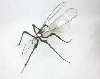 Grow Light Bulb &  Wire Mosquito Creature Repurposed Sculpture w/ Computer Circuit Board Wings