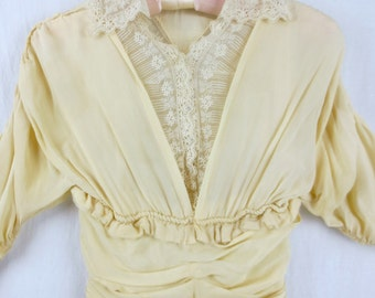 Vintage/Antique Edwardian Belle Epoque Silk Dress-Hand Made French Vanilla Ruched Silk Gown