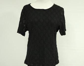 Womens 90s Vintage Lace T-shirt Black Lace Sixe sm/med
