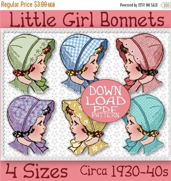 SALE SCALLOPED BRIM Bonnet Pattern 4 sizes So Sweet Child Girl Toddler Baby Cotton or Felt Vintage Hat 1930 Sew e-pattern pdf