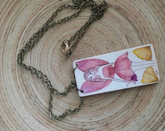 Scrimshaw Necklace Lovely Pink Winged Fairy and Flowers OOAK