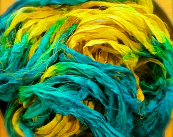 Beach Bummin' Recycled Sari Silk Ribbon 5, 10 or 50 Yards Ribbon for Yarn Jewelry Weaving Spinning