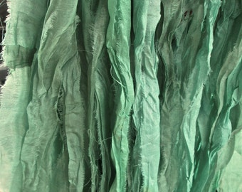 Rubbed Sage Recycled Sari Silk Eyelash Ribbon 5, 10 or 80 Yards for Yarn Jewelry Weaving Spinning Boho & Mixed Media