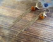 Honey Chalcedony and Gold Vintaj Bee French Hook Earrings Handmade in Indiana Bridesmaid Gift