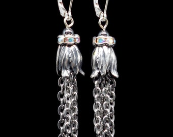 Art Nouveau Style Tassel Earrings, Silver Plated Brass, Stainless Steel Chain, Rhinestones, Hematite Beads Sterling Silver Leverbacks #E0869
