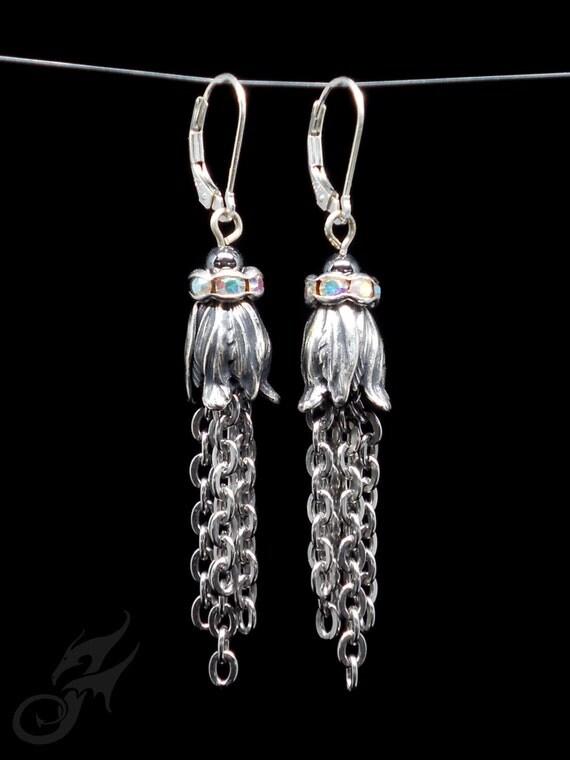 Art Nouveau Style Tassel Earrings, Silver Plated Brass, Stainless Steel Chain, Rhinestones, Hematite Beads Sterling Silver Leverbacks #E0869