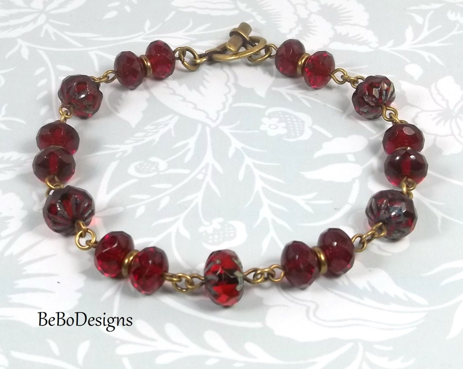 Ruby Red Czech Rondelle Glass Beaded Wire Wrapped Bracelet - photo#7