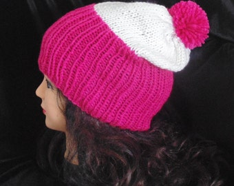 Slouchy Beanie Hat, Hot Pink and White Hat with Pom Pom, Slouchy Hat
