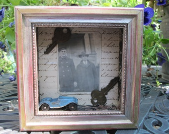 Tiny art shadow box, mixed media assemblage, funky junk home decor