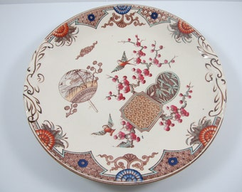 """Antique English Aesthetic Movement Transferware Plate """" Formosa """" T. Furnival & Sons"""