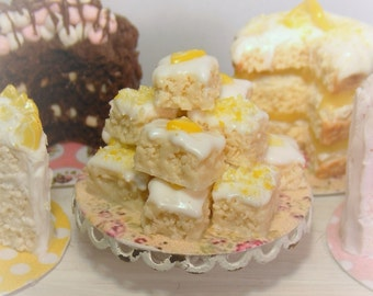 12th Scale Doll house Stand of Lemon Drizzle Squares