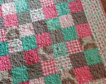 Pink, Mint, Grey and White Baby Girl Crib Quilt blanket patchwork squares elephants