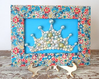 Princess Crown - 3d Art - Decoupage Frame - Liberty of London Picture - Beaded Wall Hanging - Floral Framed Art - Turquoise Mosaic Wall