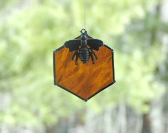 Bee suncatcher, stained glass ornament, beehive honeycomb, home decor, beekeeper gift under 20, summer decor, bumble bee hive