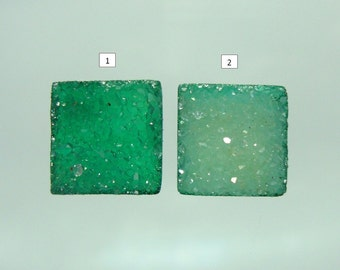 Gorgeous Emerald Green Natural Druzy Drusy Crystal Square Cabochon, High Quality,10mm, n24-2