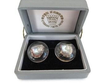 Pearl Lucite Earrings, Sakata Pearl, Japan Jewelry, Pearl in Shell, Pearl Earrings, Vintage Earrings, Vintage Jewelry