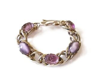 Vintage Kafin Purple Scarab Silver Bracelet - Amethyst Glass, Scarab Beetle, Silver Chains, Vintage Bracelet, Vintage Jewelry