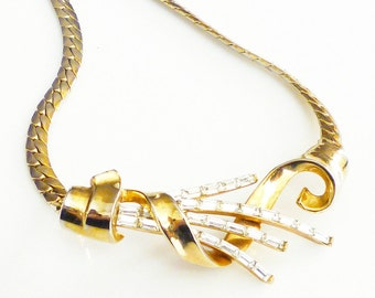 Trifari Necklace, Meteor Collection, Rhinestone Baguette, Gold Tone, Snake Chain, Vintage Jewelry