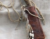 ON RESERVE for alienmonk  Hand Forged Neck knife or Patch Knife in a Heavy Primitive Bark Tanned Sheath